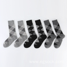 jacquard geometric pattern length socks for men